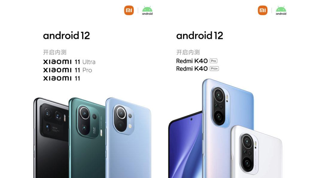 Alguns celulares das linhas Mi 11 e Redmi K40 serão os primeiros a receber o Android 12 (Imagem: Divulgação/Xiaomi)