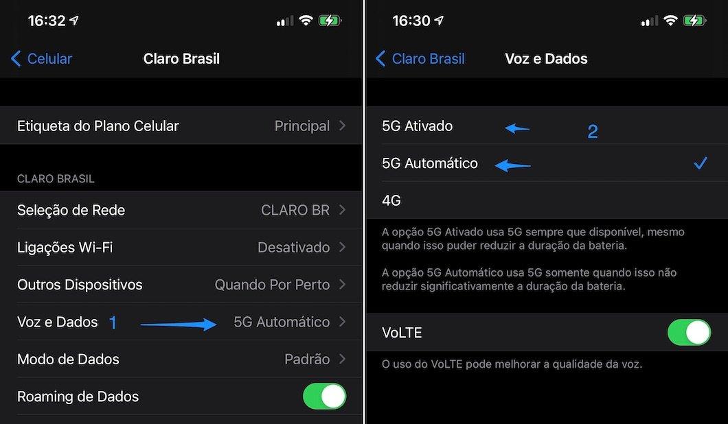 Processo de ativação do 5G no iPhone 13