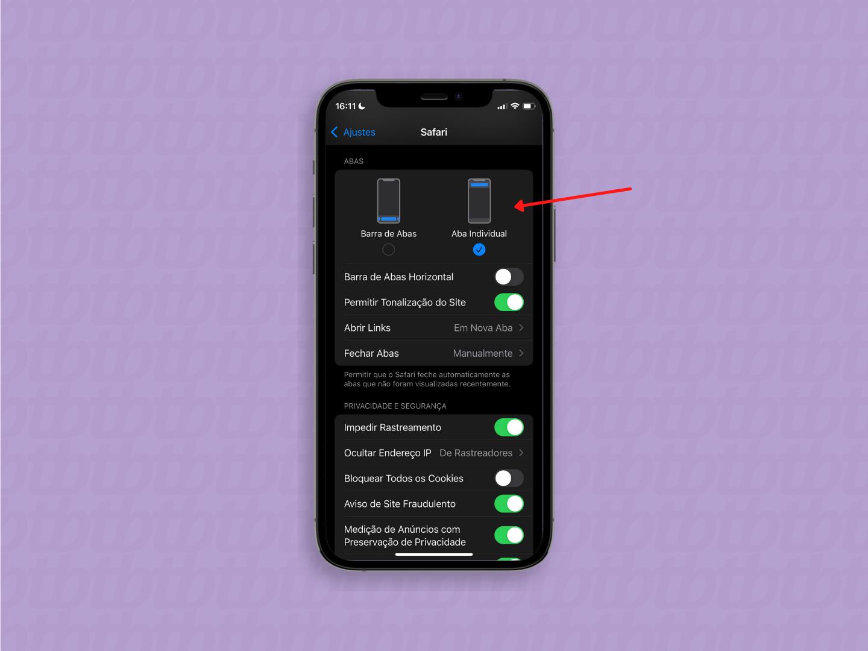 Como deixar a barra de endereço do Safari no topo no iOS 15 / Paula Alves / Reprodução