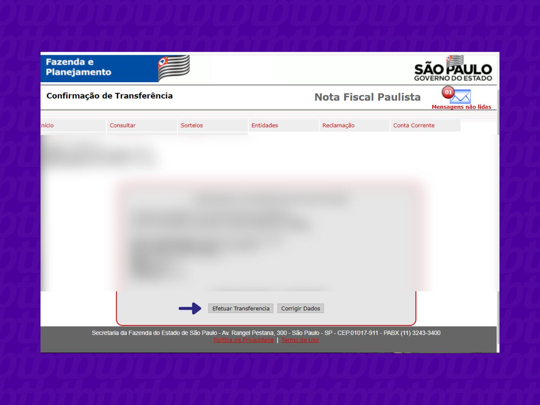 Tela de confirmação de resgate dos créditos na Nota Fiscal Paulista