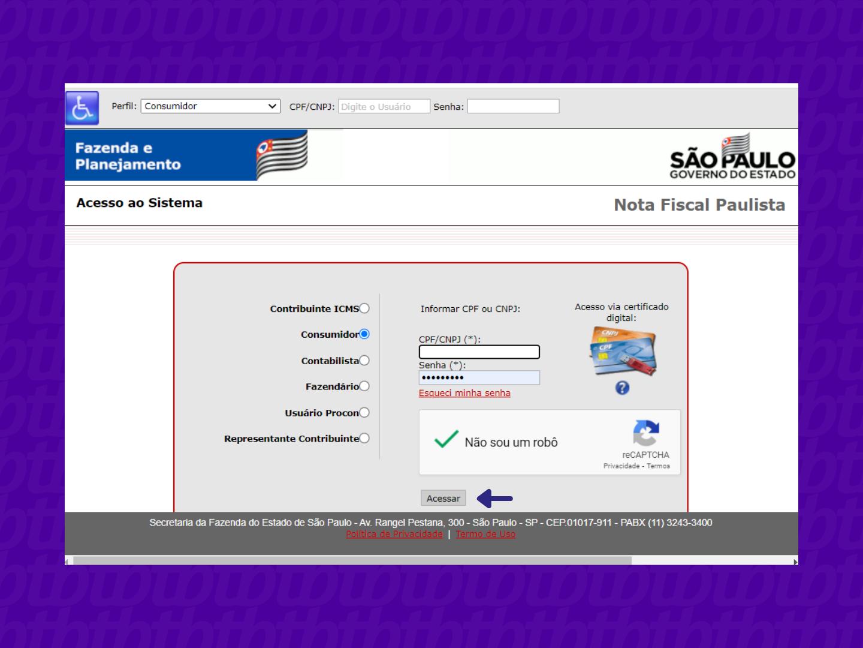 Tela inicial de login da Nota Fiscal Paulista