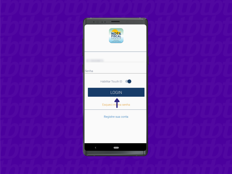 Tela de login do app Nota Fiscal Paulista