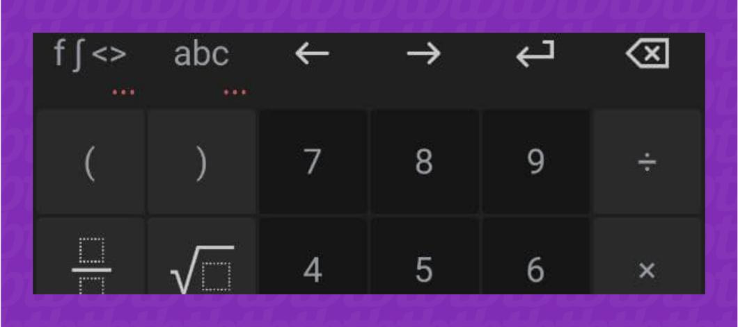 Teclado da calculadora do PhotoMath (Imagem: Leandro Kovacs/Reprodução)