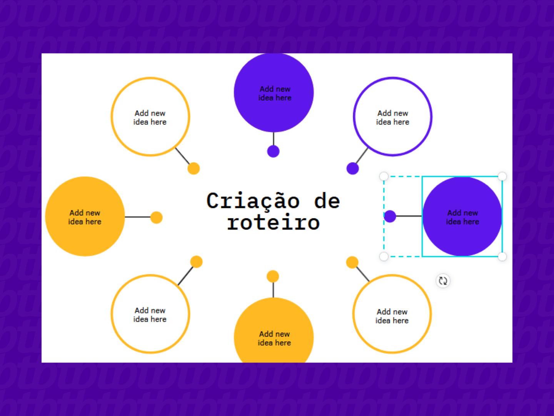 Editando o template de mapa mental no Canva (Imagem: Leandro Kovacs/Reprodução)