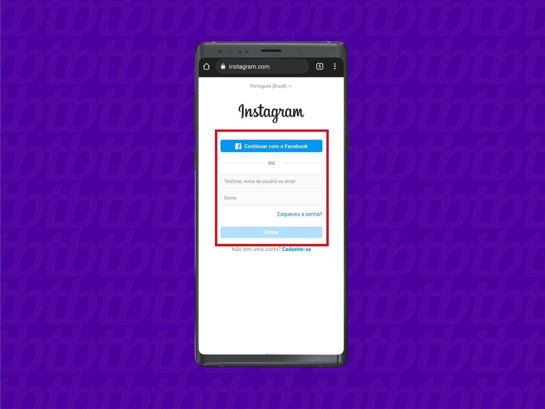 Faça login com sua conta (Imagem: Reprodução/Instagram)