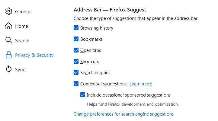 Firefox Suggest Settings
