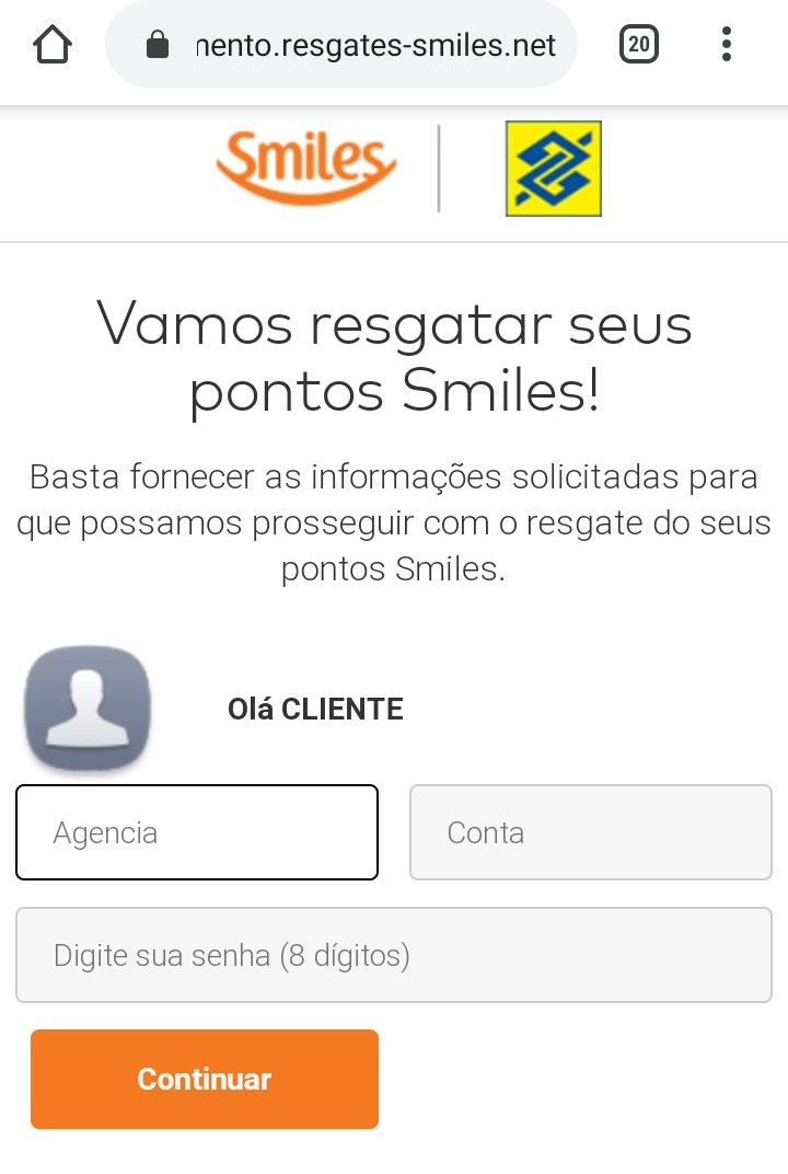 Bank of Brazil and Smiles fake website asks for credit card information