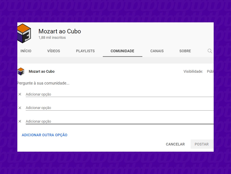 como criar uma enquete no youtube