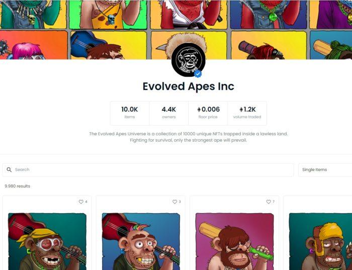 """Página verificada dos """"Evolved Apes"""" no OpenSea (Imagem: Reprodução/ OpenSea)"""