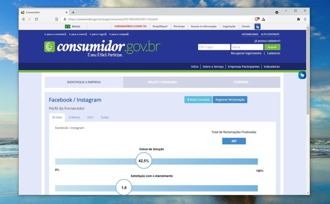 Perfil do Facebook/Instagram no Consumidor.gov.br
