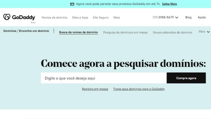 screenshot da tela do site godaddy para registrar domínio