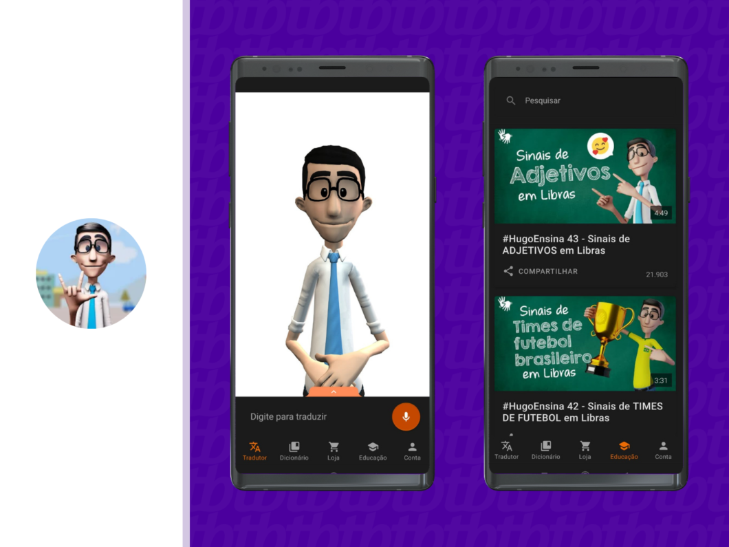 duas telas de celular com imagens do aplicativo hand talk