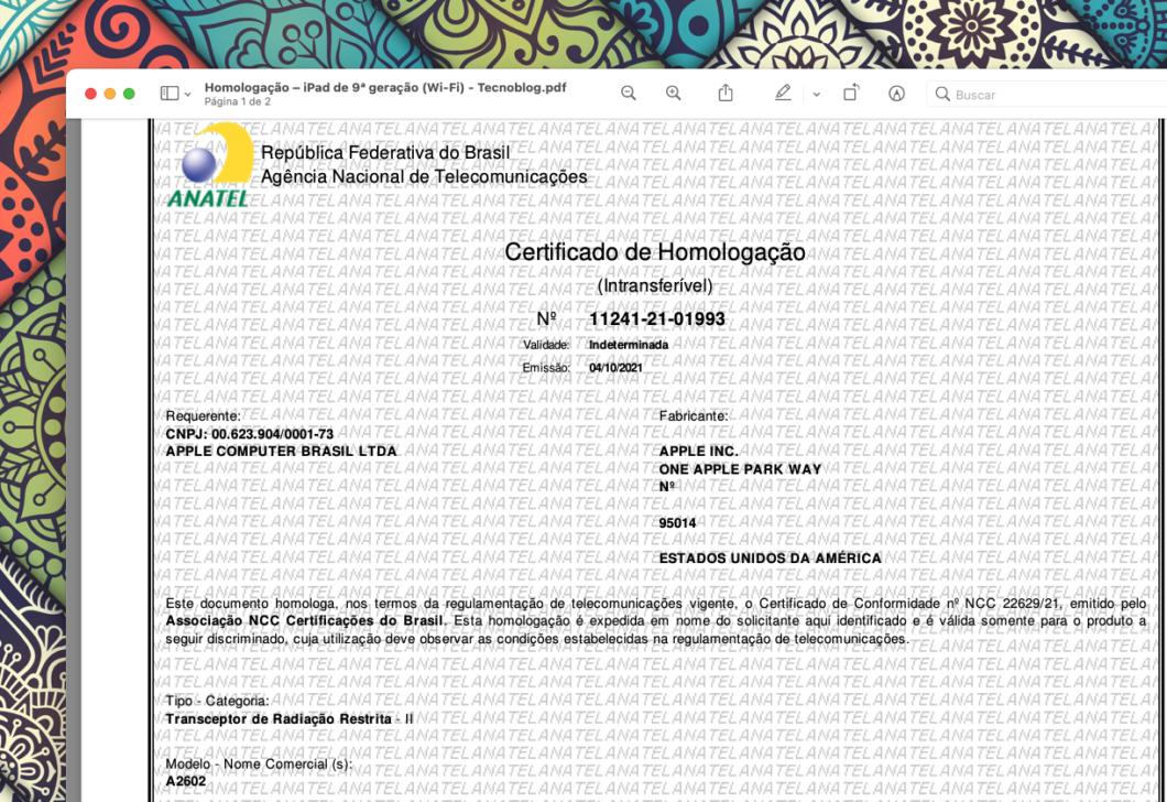Certificado de homologação do iPad de 9ª geração (Imagem: Reprodução/Tecnoblog)