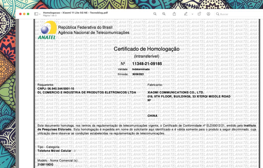 Certificado de homologação do Xiaomi 11 Lite 5G NE (Imagem: Reprodução/Tecnoblog)