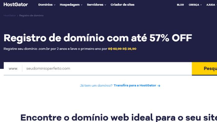 screenshot da tela do site hostgator registrar domínio de site