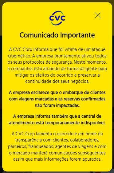 Comunicado publicado no site da CVC