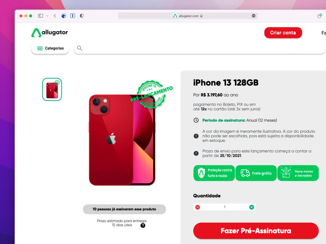 iPhone 13 de 128 GB pode ser alugado pelo Allugator por R$ 3,2 mil ao ano (Imagem: Reprodução/Tecnoblog)
