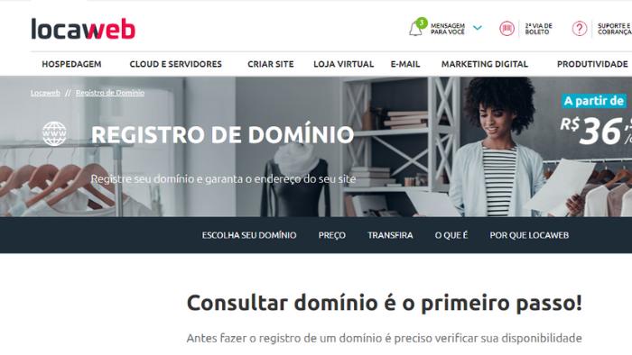 screenshot da tela do site locaweb para registrar domínio de site