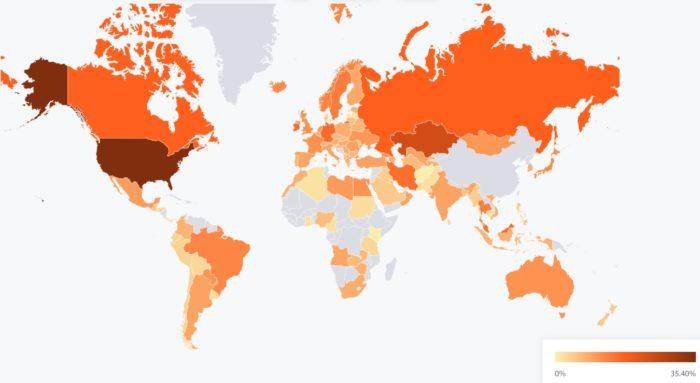 Mapa de mineração de bitcoin de julho mostra 0% de participação da China (Imagem: Reprodução/ Centro de Finanças Alternativas da Universidade de Cambridge)