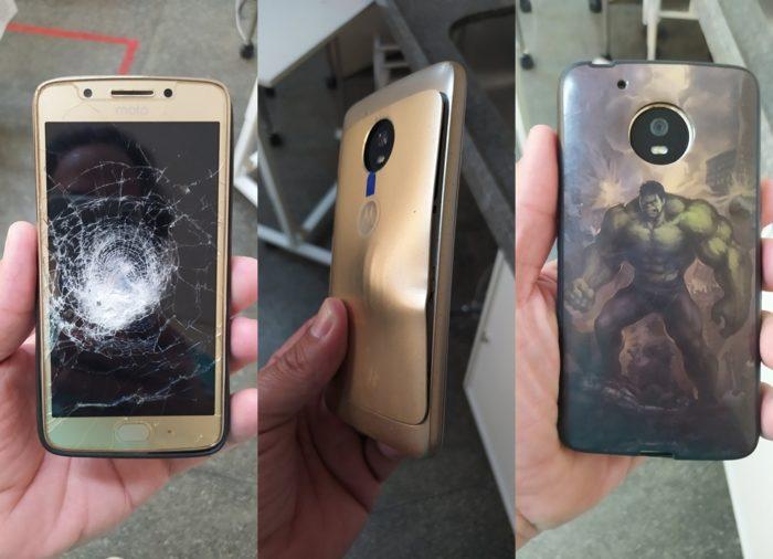 Moto G5 salva a vida de vítima de assalto (imagem: Pedro Carvalho/Twitter)