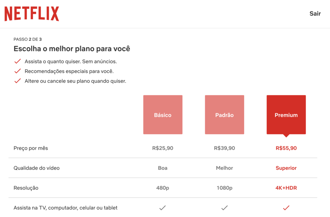 Netflix prices in 2021 (Image: Reproduction / Tecnoblog)