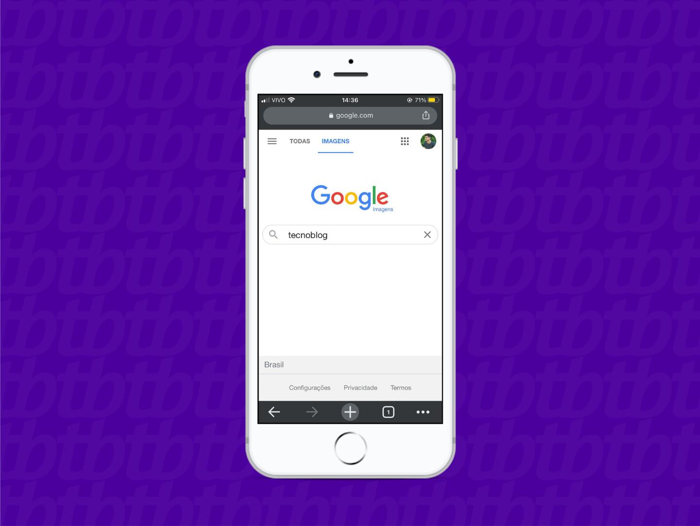 Mockup de smartphone com a página do Google Imagens aberta