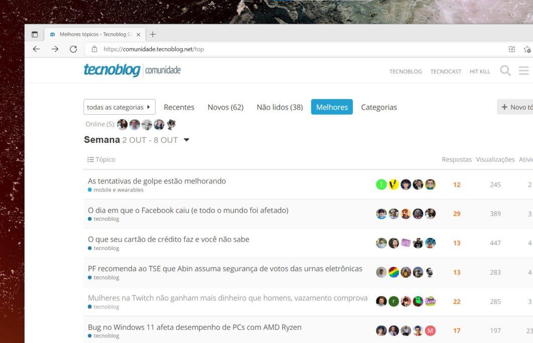 Tela com a imagem inicial da Comunidade do Tecnoblog
