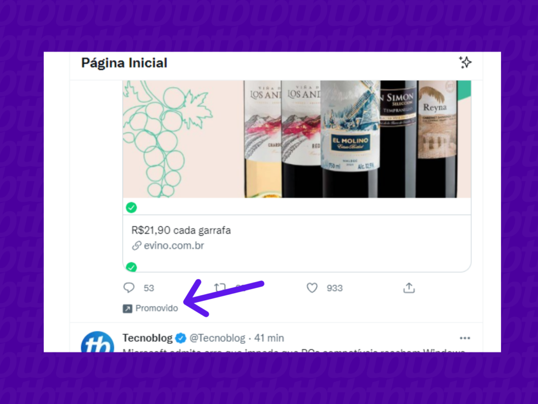 screenshot de post promovido no twitter