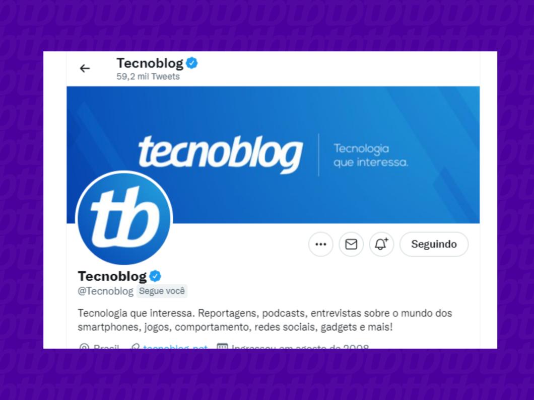 screenshot do perfil do tecnoblog no twitter