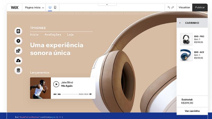 screenshot da página inicial do wix