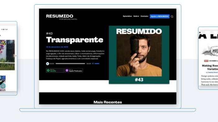 screenshot da página inicial do wordpress