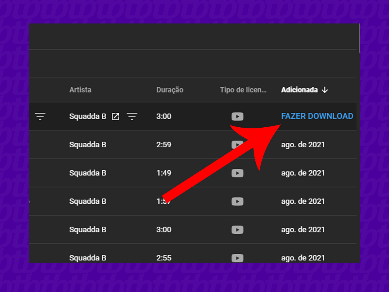 """Baixe a música clicando em """"Fazer download"""" (Imagem: Reprodução/YouTube)"""